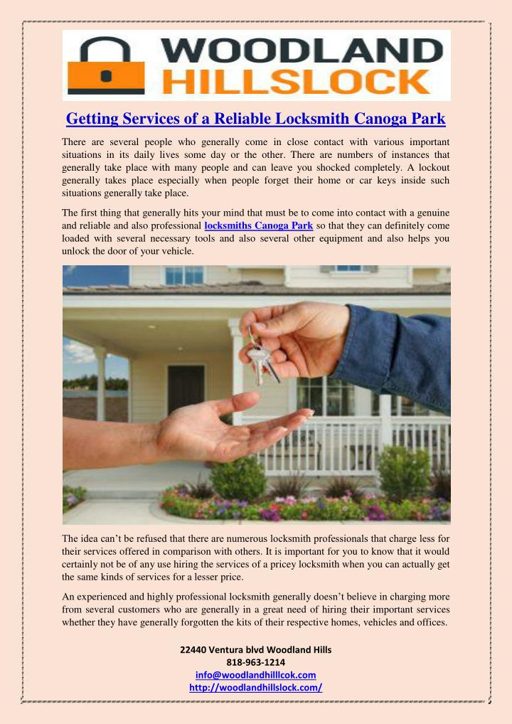 Getting Services of a Reliable Locksmith Canoga Park