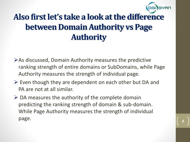 Also first let's take a look at the difference between Domain Authority