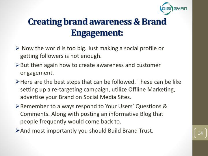 Creating brand awareness & Brand