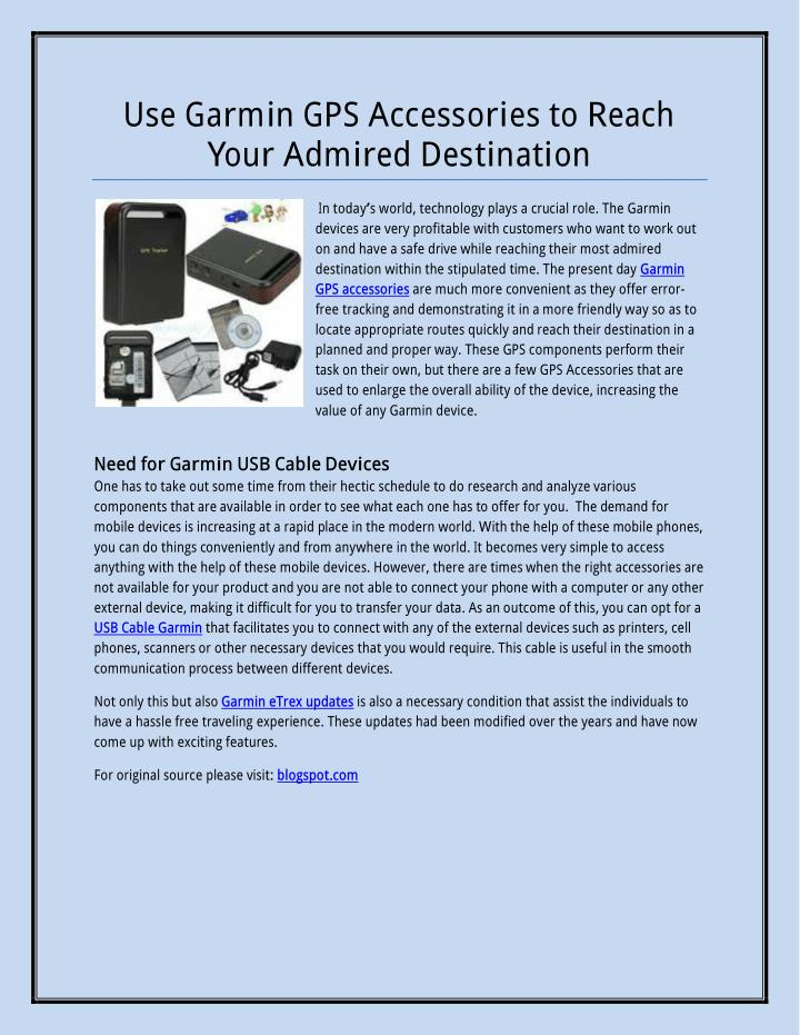 Use Garmin GPS Accessories to Reach