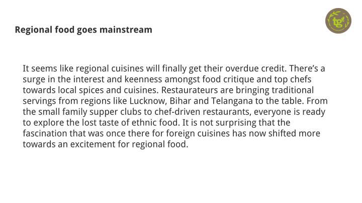 Regional food goes mainstream