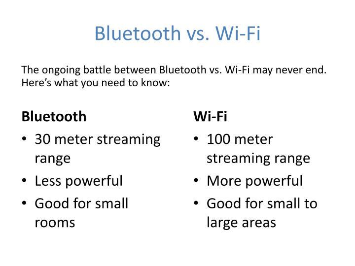 Bluetooth vs. Wi-Fi
