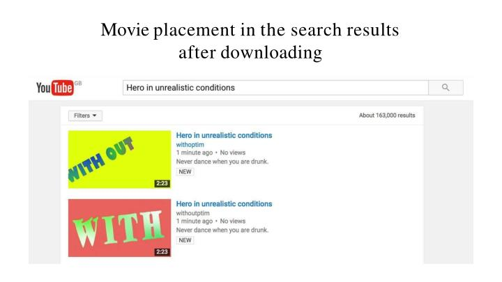 Movie placement in the search results