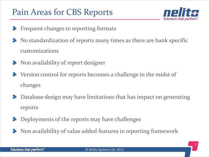Pain Areas for CBS Reports