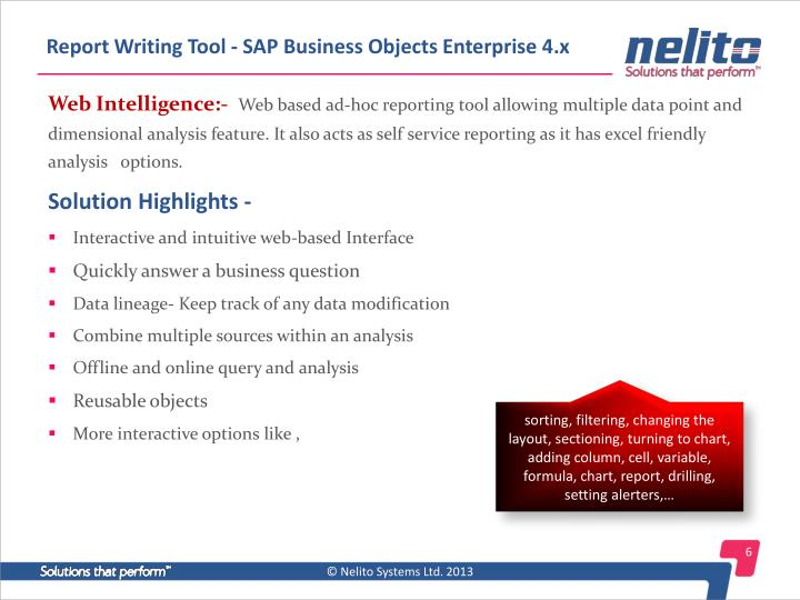 Report Writing Tool - SAP Business Objects Enterprise 4.x