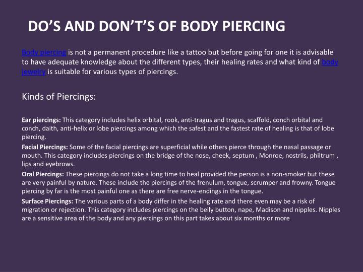 Do s and don t s of body piercing