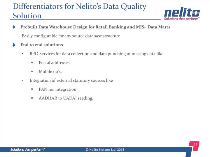 Differentiators for Nelito's Data Quality