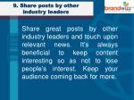 9 share posts by other industry leaders