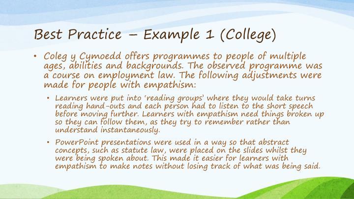 Best Practice – Example 1 (College)