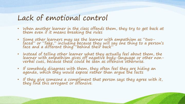 Lack of emotional control