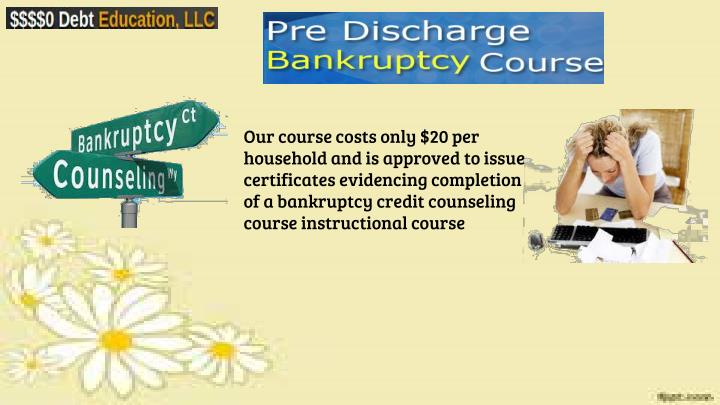 Our course costs only $20 per household and is approved to issue certificates evidencing completion of a bankruptcy credit counseling course instructional course