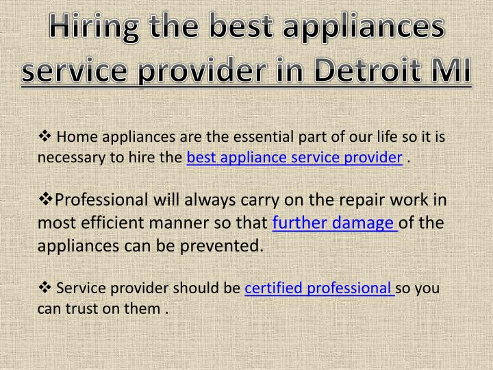 Hiring the best appliances