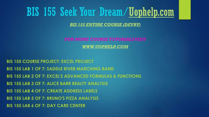 Bis 155 seek your dream uophelp com1