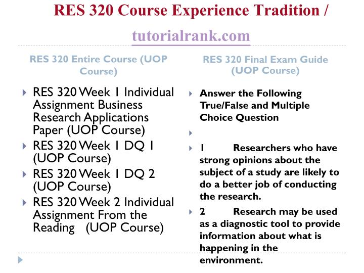 Res 320 course experience tradition tutorialrank com1