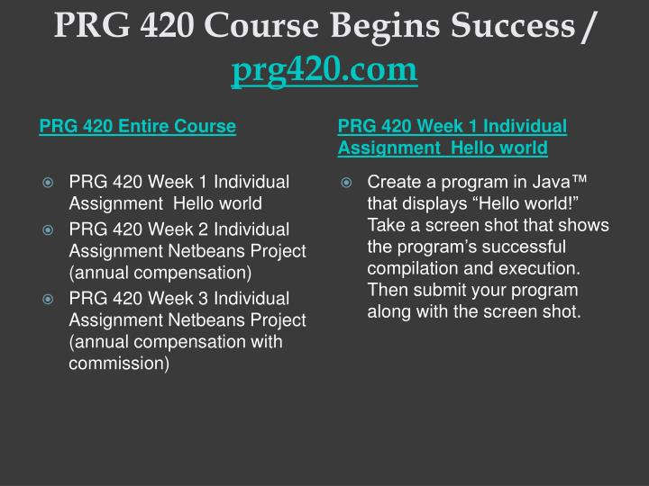 Prg 420 course begins success prg420 com1