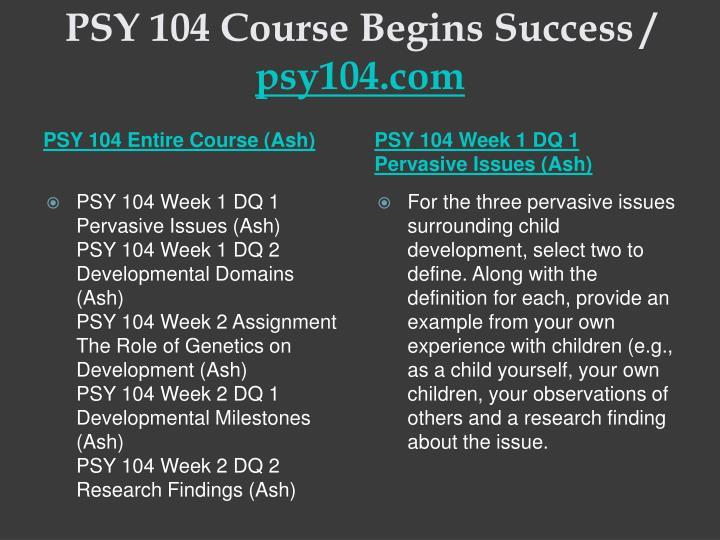 Psy 104 course begins success psy104 com1