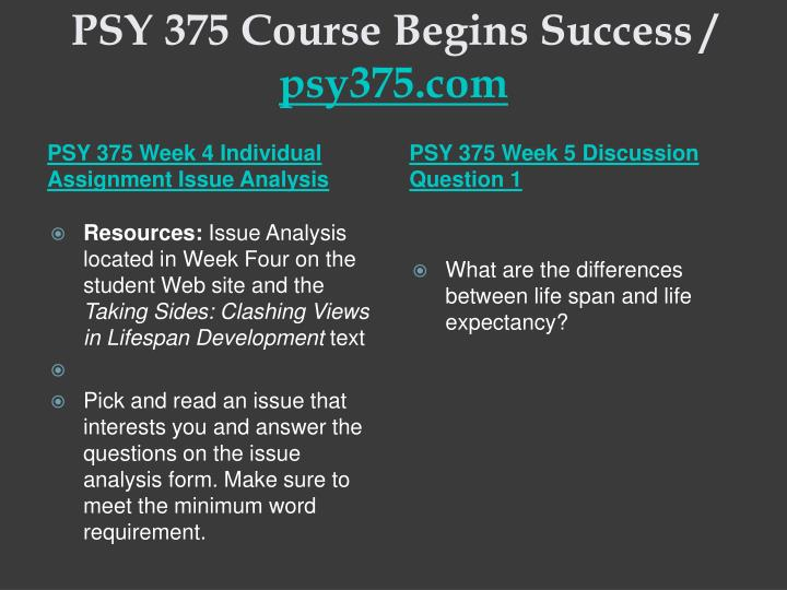 PSY 375 Course Begins Success /
