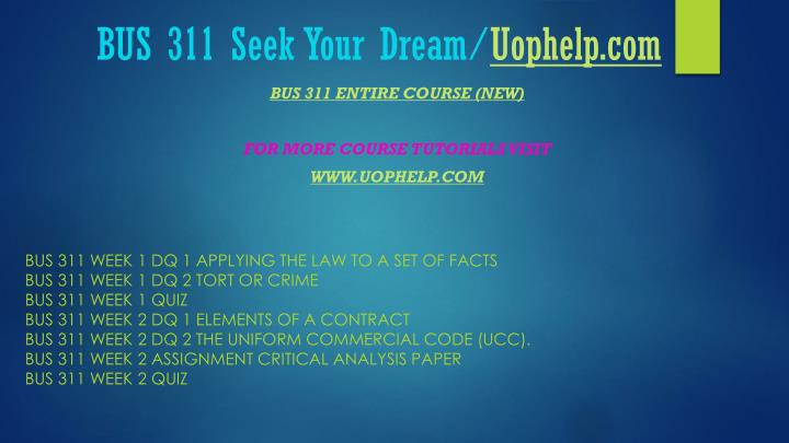 Bus 311 seek your dream uophelp com1