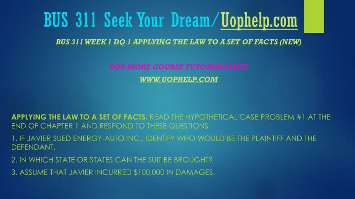 Bus 311 seek your dream uophelp com2