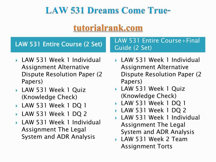 Law 531 dreams come true tutorialrank com1