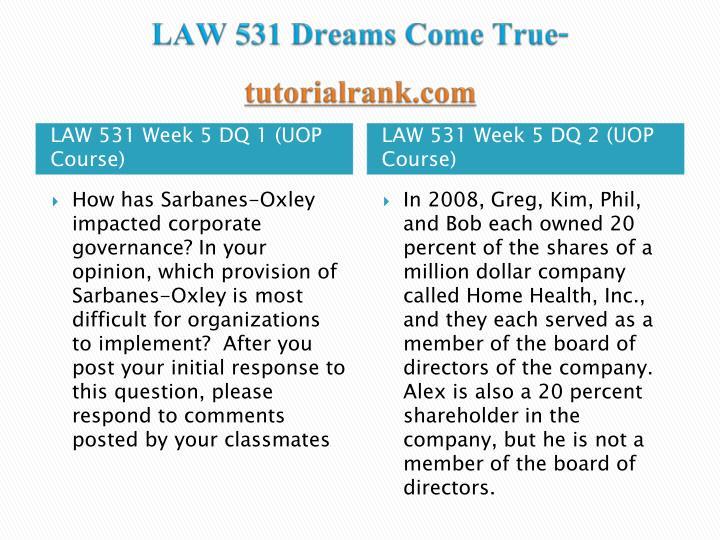 LAW 531 Dreams Come True