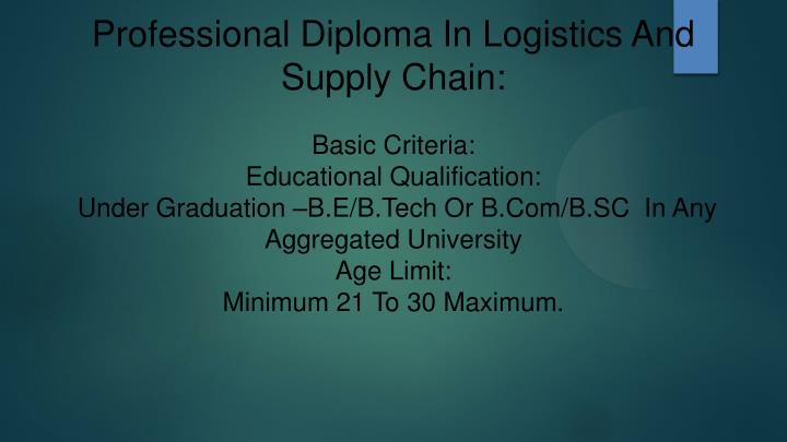 Professional Diploma In Logistics And Supply Chain: