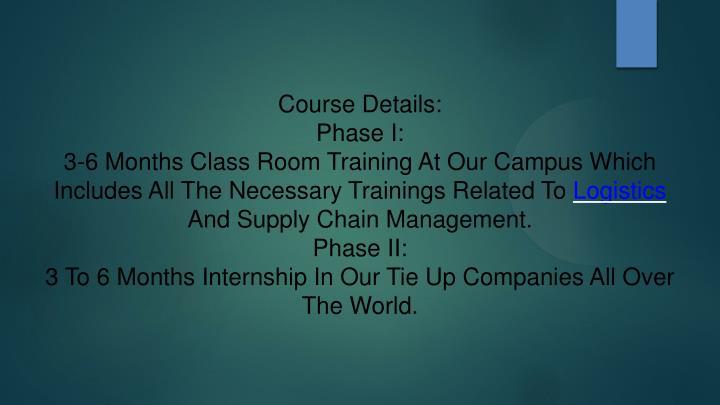 Course Details: