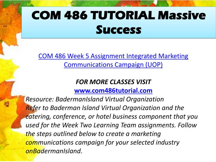 COM 486 TUTORIAL Massive