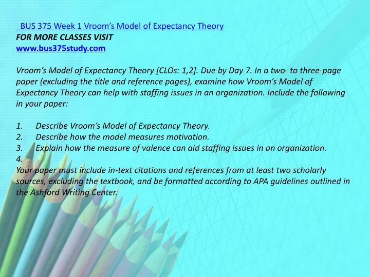 BUS 375 Week 1 Vroom's Model of Expectancy Theory