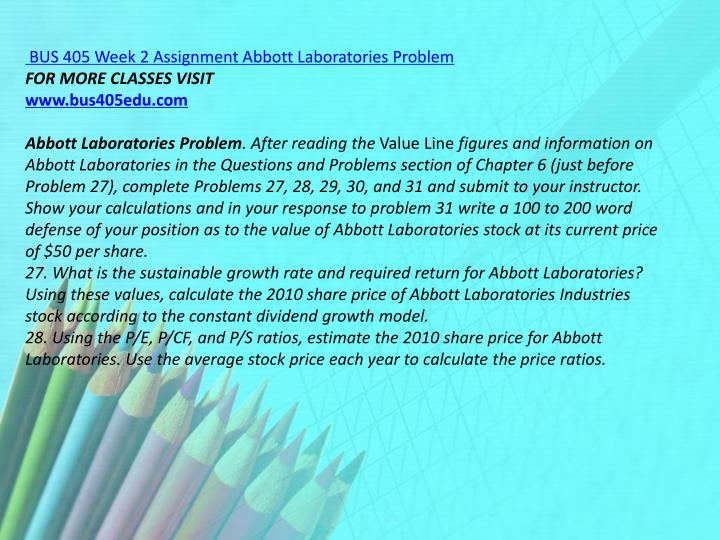 BUS 405 Week 2 Assignment Abbott Laboratories Problem