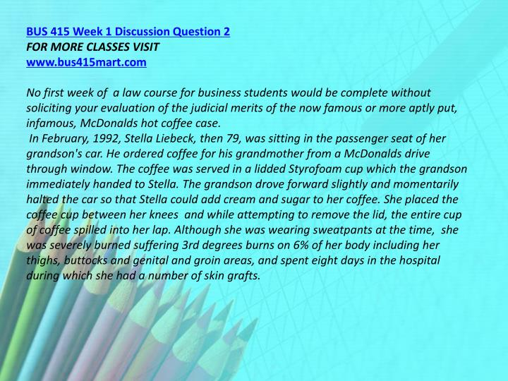 BUS 415 Week 1 Discussion Question 2