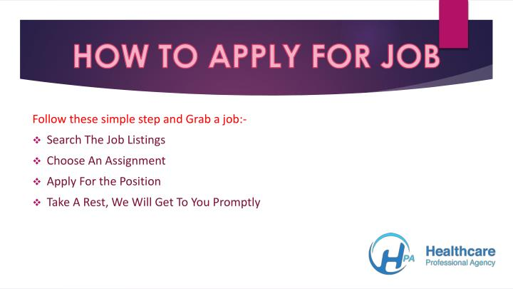 HOW TO APPLY FOR JOB