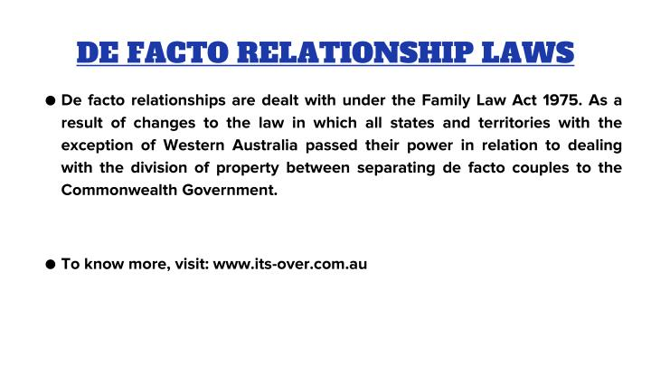 DE FACTO RELATIONSHIP LAWS