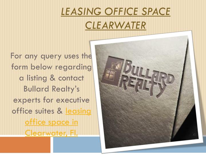 Leasing office space clearwater