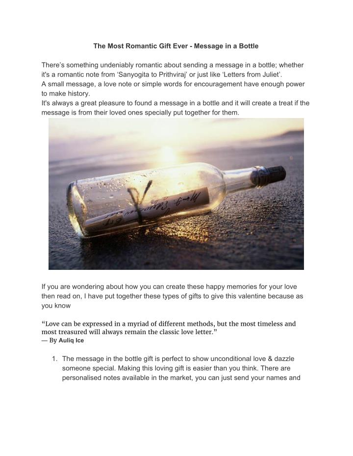 The Most Romantic Gift Ever - Message in a Bottle