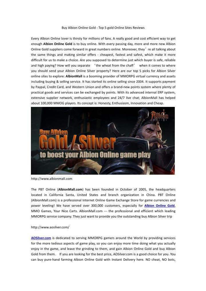 Buy Albion Online Gold - Top 5 gold Online Sites Reviews