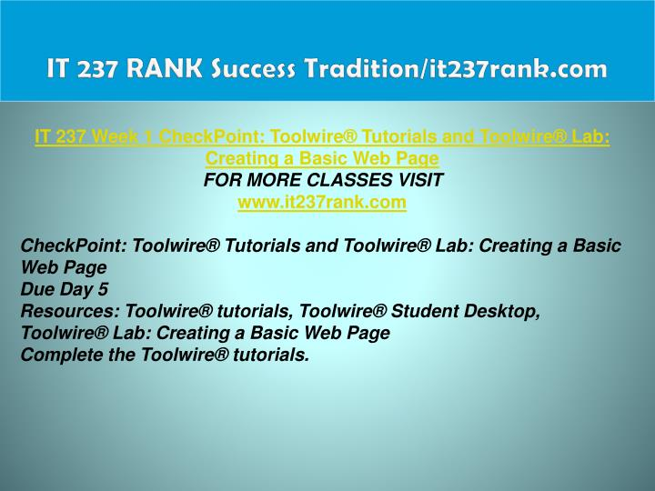 IT 237 RANK Success Tradition/it237rank.com