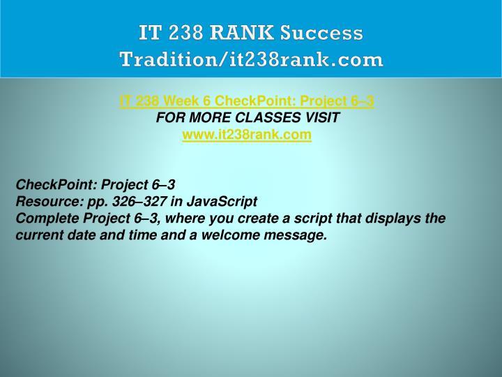 IT 238 RANK Success Tradition/it238rank.com