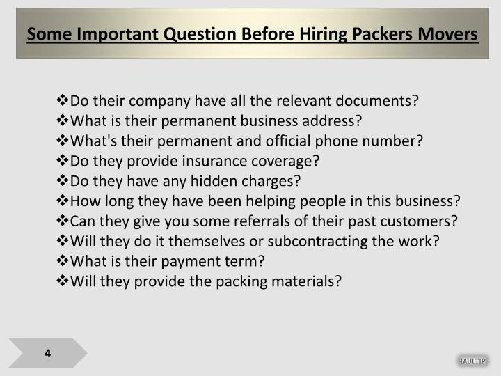 Some Important Question Before Hiring Packers Movers