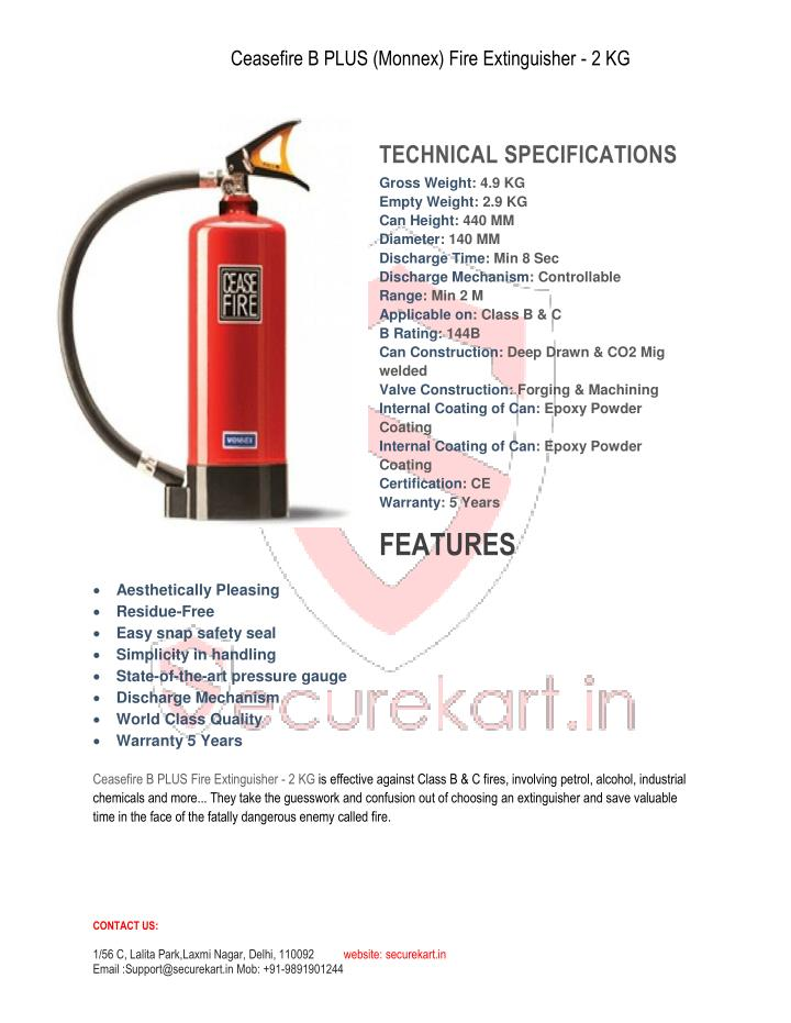 Ceasefire B PLUS (Monnex) Fire Extinguisher - 2 KG