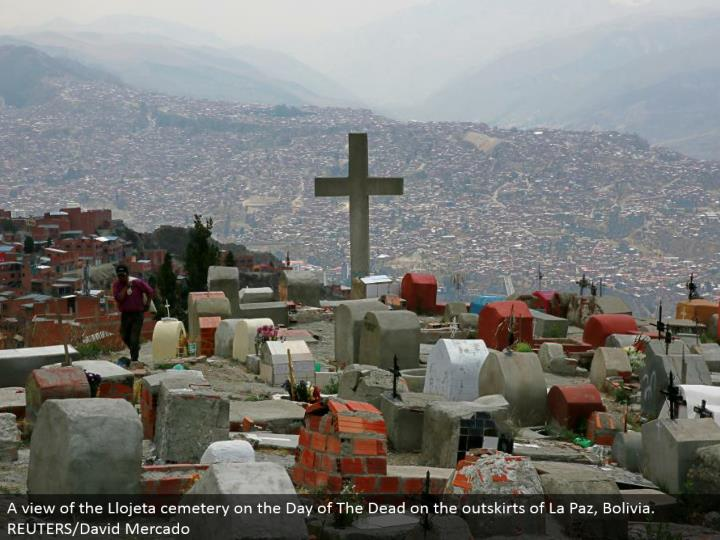 A perspective of the Llojeta graveyard on the Day of The Dead on the edges of La Paz, Bolivia. REUTERS/David Mercado