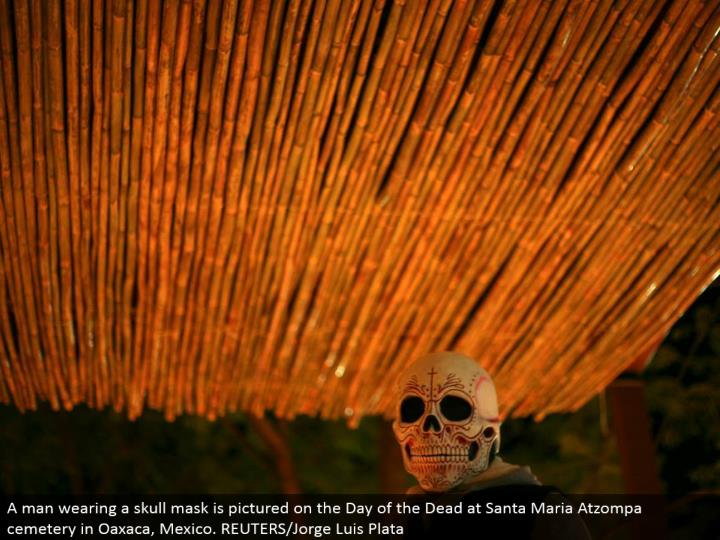 A man wearing a skull veil is imagined on the Day of the Dead at Santa Maria Atzompa graveyard in Oaxaca, Mexico. REUTERS/Jorge Luis Plata