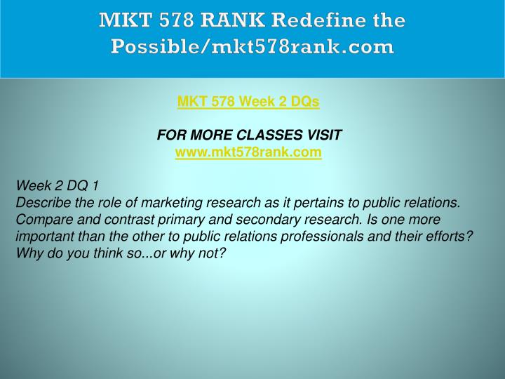 MKT 578 RANK Redefine the Possible/mkt578rank.com