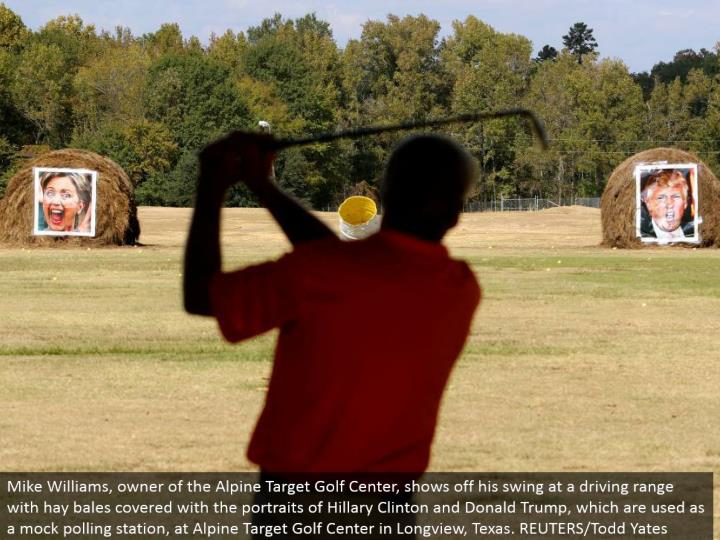 Mike Williams, proprietor of the Alpine Target Golf Center, flaunts his swing at a driving reach with roughage parcels secured with the representations of Hillary Clinton and Donald Trump, which are utilized as a taunt surveying station, at Alpine Target Golf Center in Longview, Texas. REUTERS/Todd Yates