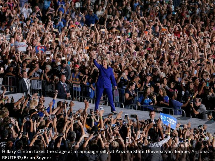 Hillary Clinton makes that big appearance at a crusade rally at Arizona State University in Tempe, Arizona. REUTERS/Brian Snyder