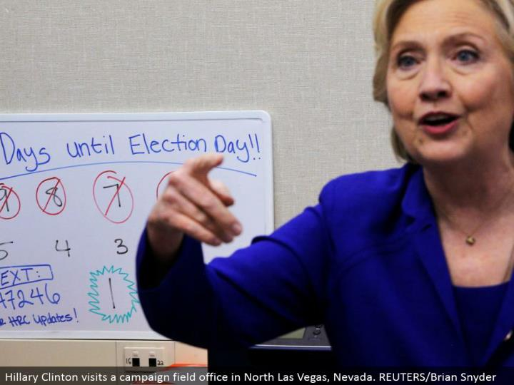 Hillary Clinton visits a crusade field office in North Las Vegas, Nevada. REUTERS/Brian Snyder