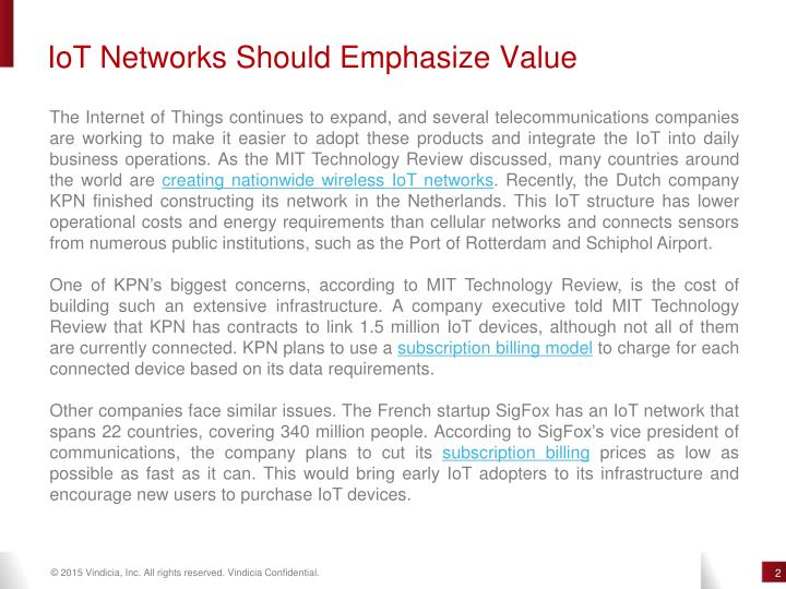 IoT Networks Should Emphasize Value