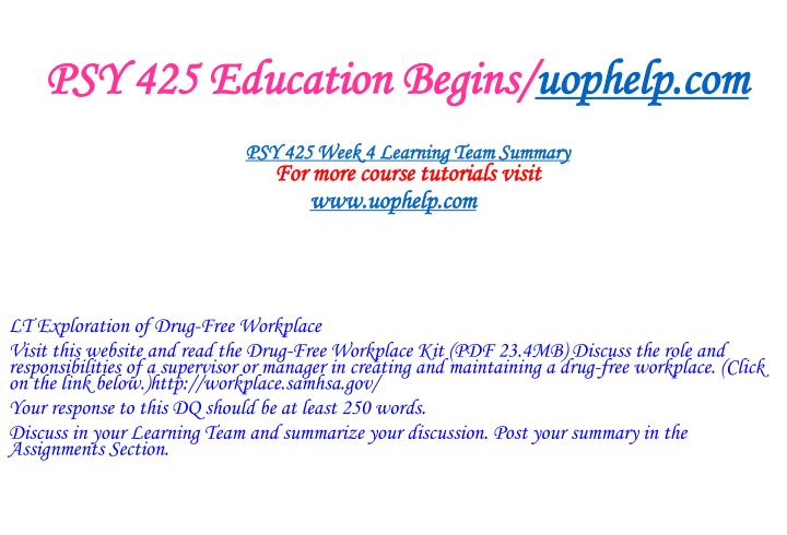 PSY 425 Education Begins/