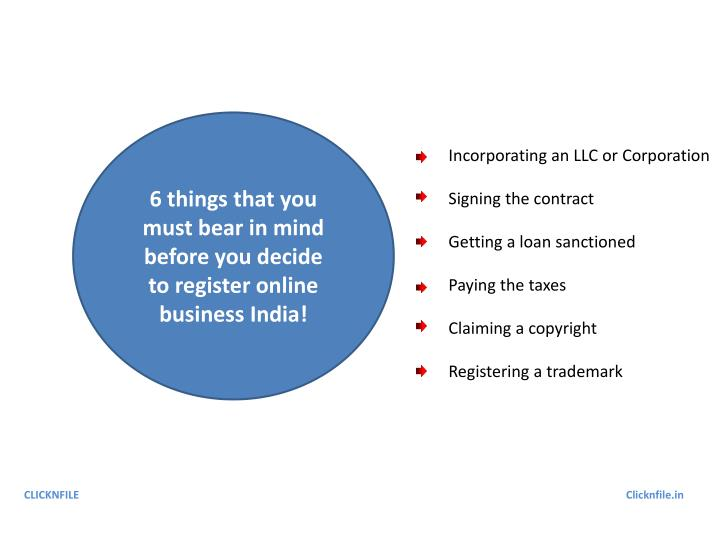 6 things that you must bear in mind before you decide to register online business India!