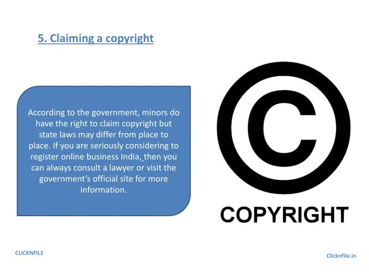 5. Claiming a copyright